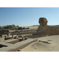 Sphinx Complex: Site: Giza; View: Sphinx, Sphinx Temple, Khafre Valley Temple, Temple of Amenhetep II