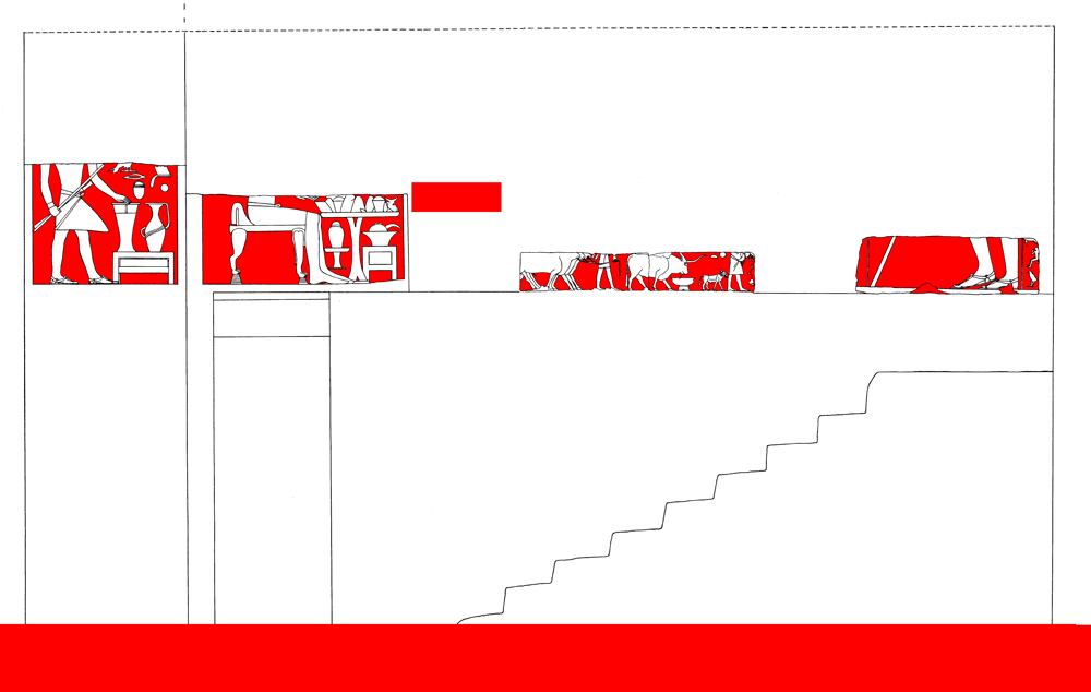 Drawings: G 7101, Elevation of lower stairway (reconstruction) and relief from S and E walls