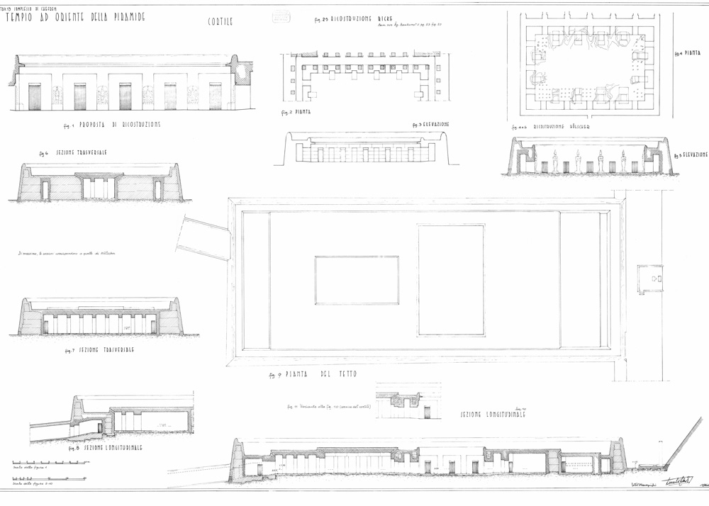 Maps and plans: Khafre Pyramid Temple, plans, sections, and elvations