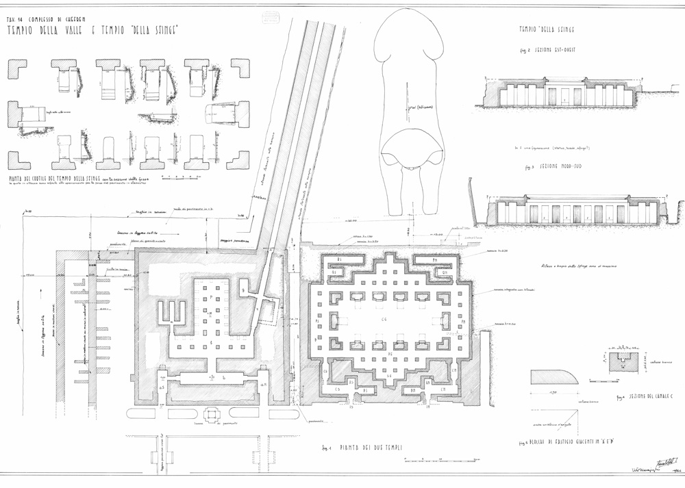 Maps and plans: Khafre Valley Temple and Sphinx Temple, plans and sections