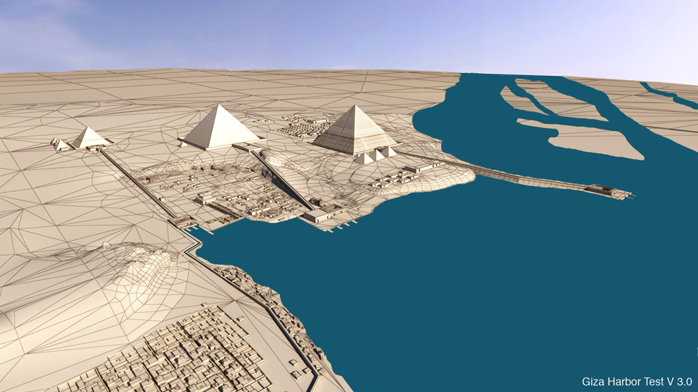 Giza Plateau model: Site: Giza; View: Giza Plateau (model)