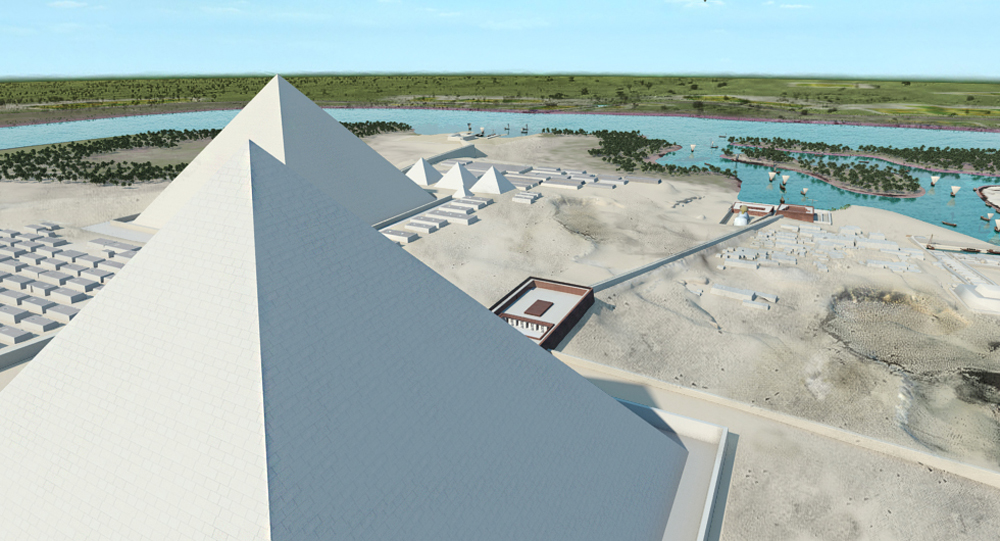 Khafre Pyramid Complex model: Site: Giza; View: Khafre Pyramid (model)