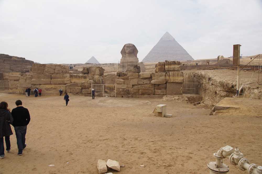 Khafre Pyramid Complex and Sphinx Complex: Site: Giza; View: Sphinx, Sphinx Temple, Khafre Valley Temple