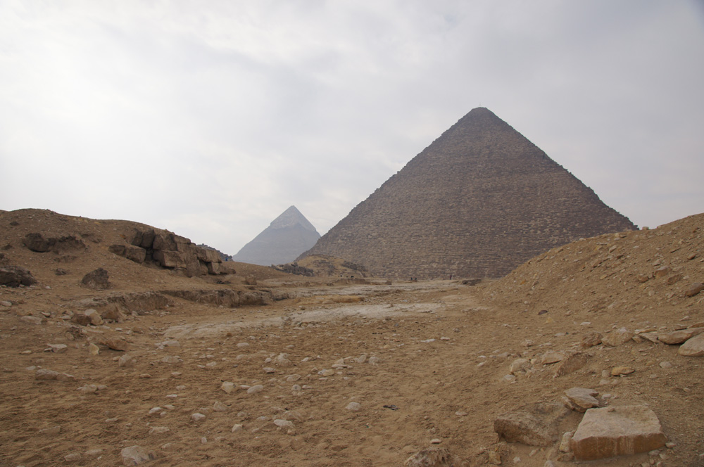 Eastern Cemetery and Khufu Pyramid Complex: Site: Giza; View: Khufu Causeway, Khufu Pyramid, G I-a, G 7810
