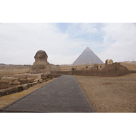 Khafre Pyramid Complex and Sphinx Complex: Site: Giza; View: Sphinx, Temple of Amenhetep II, Khafre Pyramid