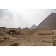 Eastern Cemetery and Khufu Pyramid Complex: Site: Giza; View: G 7413, G 7410-7420, Khufu Pyramid, G I-a, G I-b, G I-c