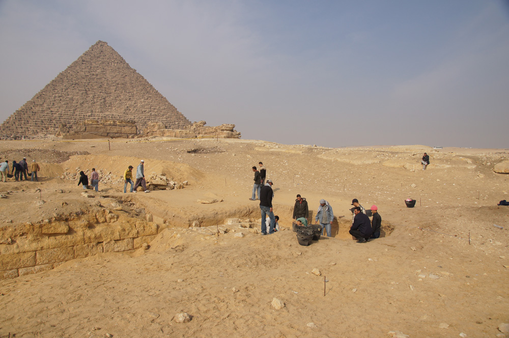 Menkaure Pyramid Complex: Site: Giza; View: Menkaure Pyramid, Menkaure Pyramid Temple