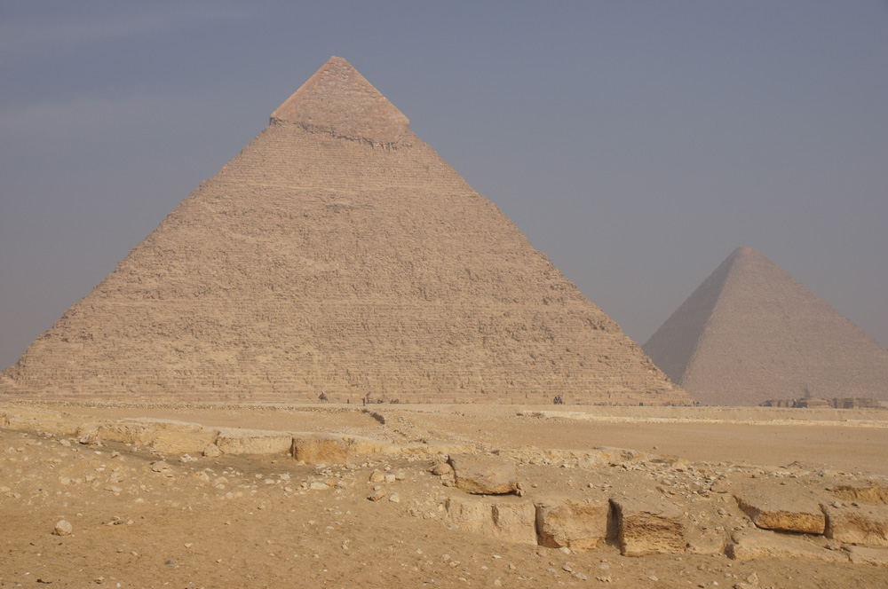 General view: Site: Giza; View: Khafre Pyramid, Khufu Pyramid, Menkaure Causeway