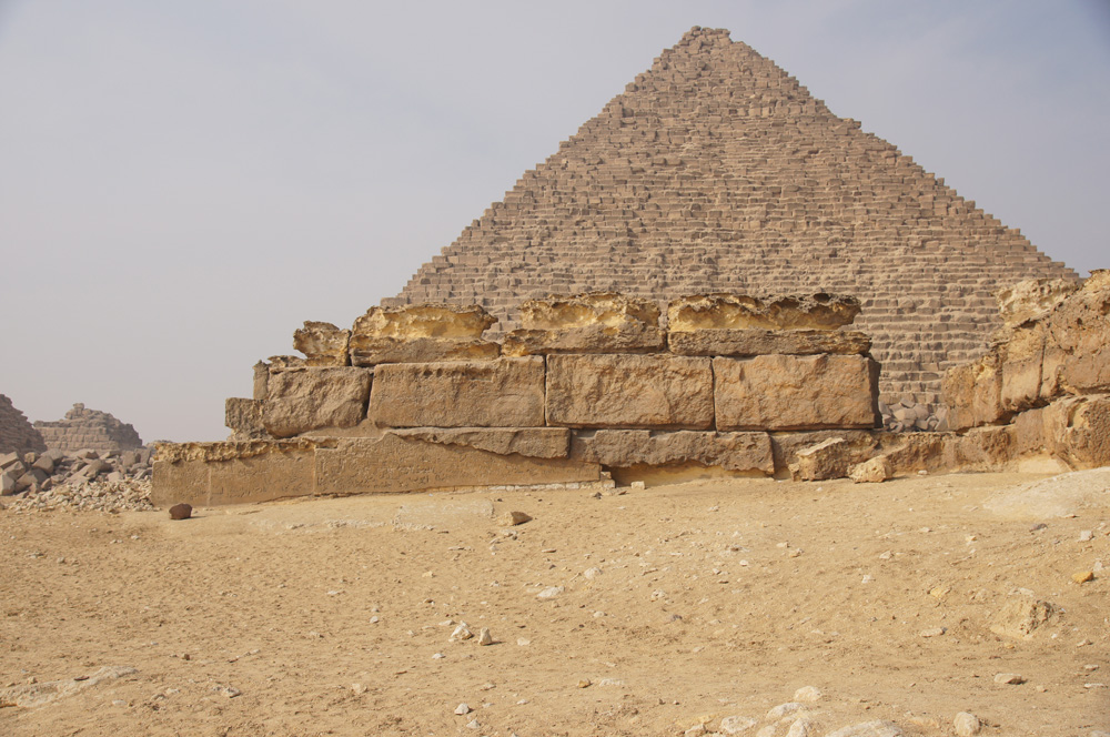 Menkaure Pyramid Complex: Site: Giza; View: Menkaure Pyramid Temple, Menkaure Pyramid, G III-b
