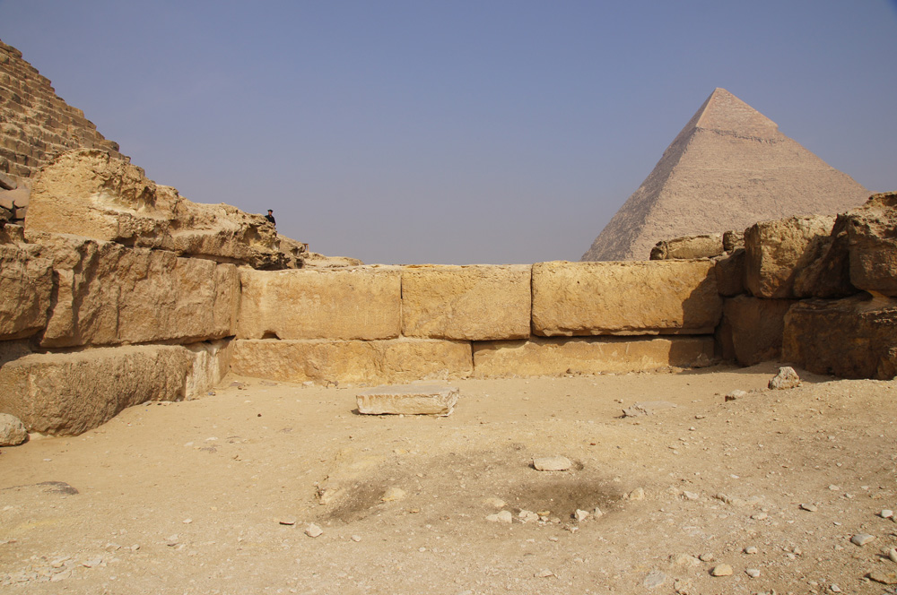 Menkaure Pyramid Complex: Site: Giza; View: Menkaure Pyramid Temple, Menkaure Pyramid, Khafre Pyramid