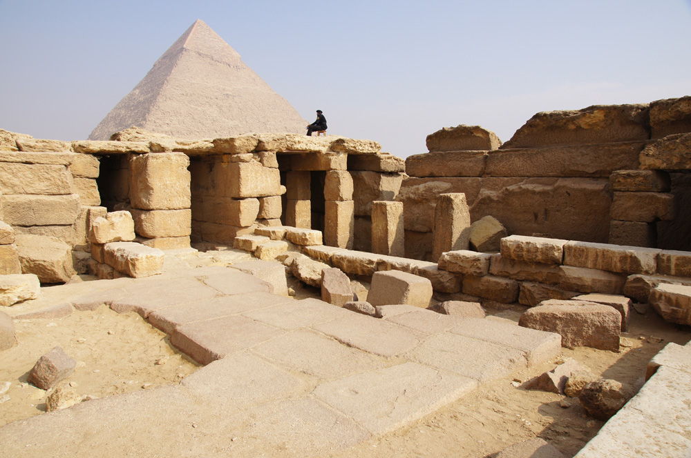 Menkaure Pyramid Complex: Site: Giza; View: Menkaure Pyramid Temple, Khafre Pyramid
