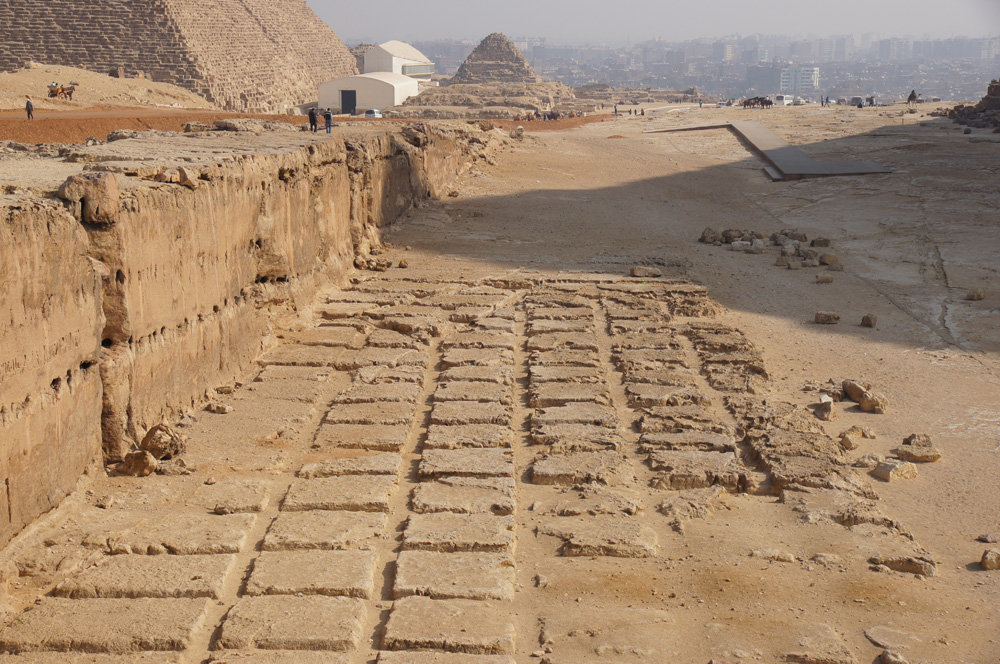 Khafre Pyramid Complex: Site: Giza; View: Khafre Quarry, Khufu Pyramid, G I-South Cemetery, Khufu Boat Museum, G I-c