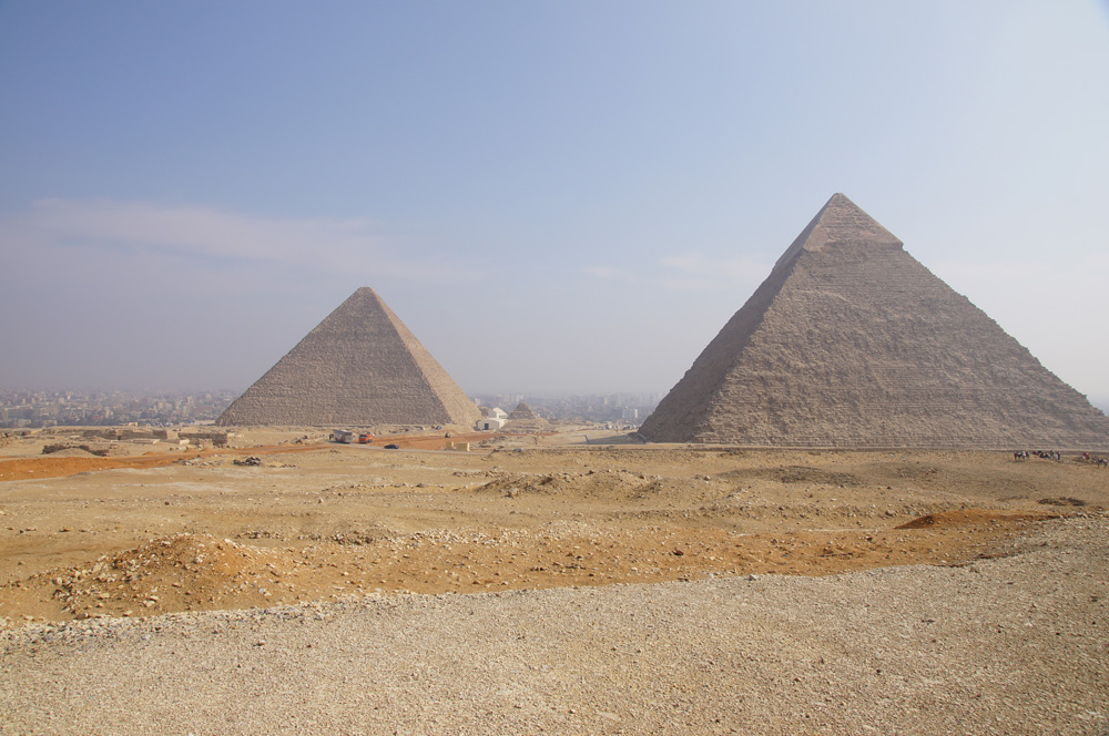 General View: Site: Giza; View: Khufu Pyramid, Khafre Pyramid