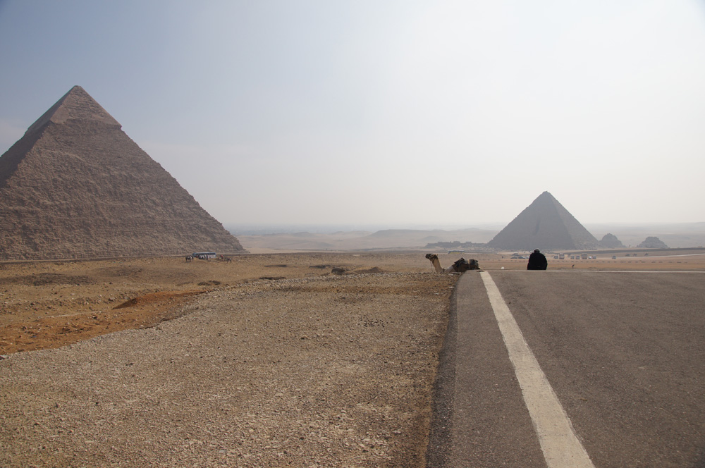 General View: Site: Giza; View: Khafre Pyramid, Menkaure Pyramid