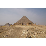 Menkaure Pyramid Complex: Site: Giza; View: Menkaure Pyramid, Menkaure Causeway, Menkaure Pyramid Temple, G III-a, G III-b