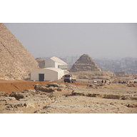 Khufu Pyramid Complex and G I-South Cemetery: Site: Giza; View:  Khufu Pyramid, G I-South Cemetery, Khufu Boat Museum, G I-b, G I-c