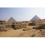 Western Cemetery: Site: Giza; View: Cemetery G 1700, Cemetery G 1800, Khufu Pyramid, Khafre Pyramid