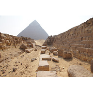 Western Cemetery: Site: Giza; View: G 4140, G 4150, G 4000, Khafre Pyramid