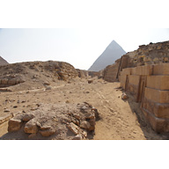 Western Cemetery: Site: Giza; View: G 2151, G 2150, G 2170, Khafre Pyramid