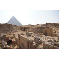 Western Cemetery: Site: Giza; View: G 2185, G 2186, G 2184, Khafre Pyramid