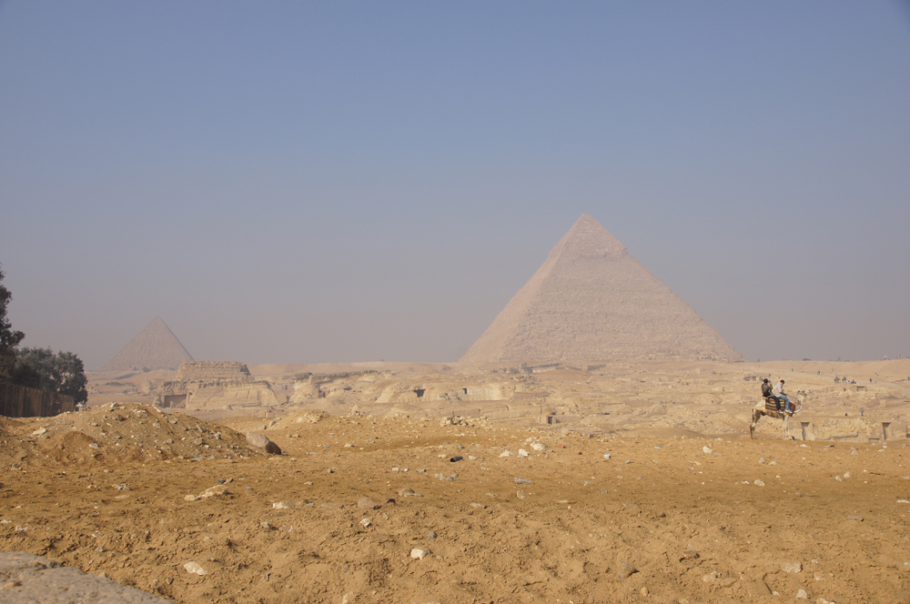 General View: Site: Giza; View: Central Field, G 8400, Menkaure Pyramid, Khafre Pyramid