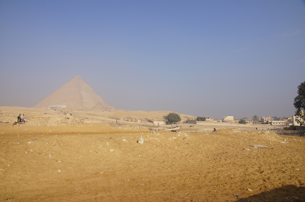 General View: Site: Giza; View: Khufu Pyramid, Khufu Boat Museum, Sphinx, Khafre Valley Temple, G I-c