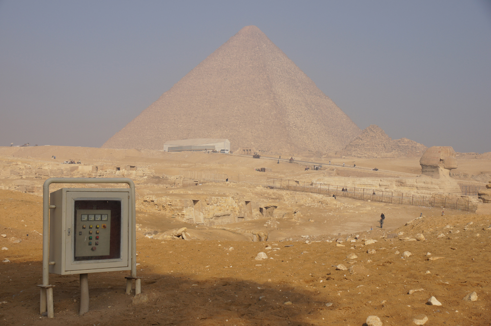 Central Field (Hassan): Site: Giza; View: G 8960, Khufu Pyramid, Sphinx, Khufu Boat Museum, G I-c, G I-b