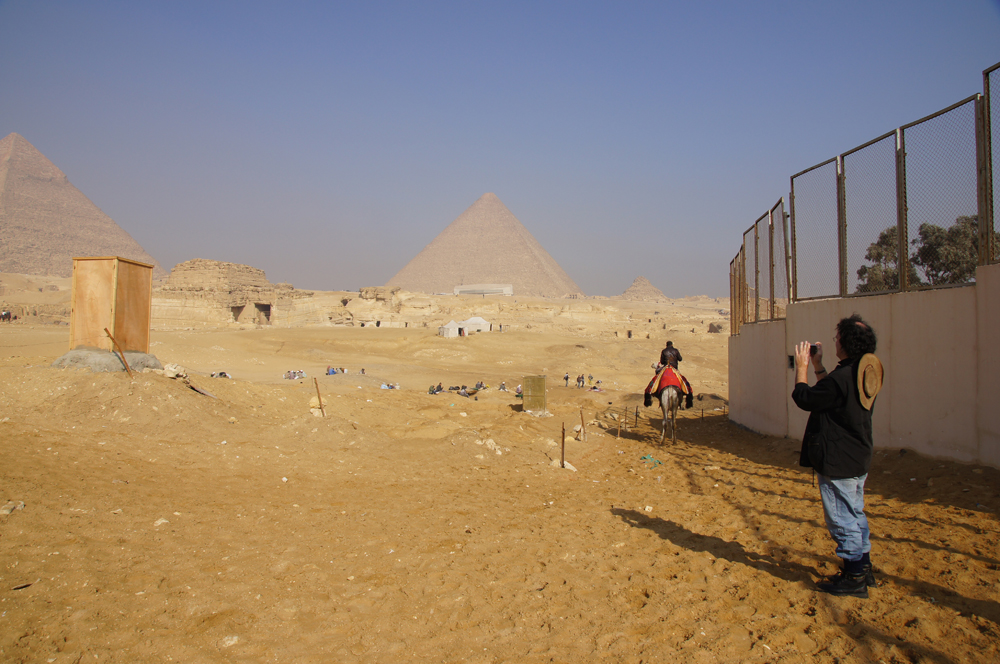 Menkaure Pyramid Complex: Site: Giza; View: Menkaure Valley Temple, G 8400, Khufu Pyramid, Khafre Pyramid, Muslim Cemetery