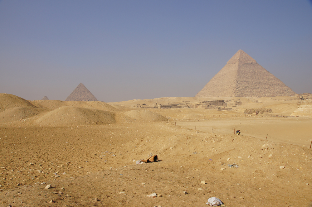 General View: Site: Giza; View: Menkaure Pyramid, Central Field, Khafre Pyramid