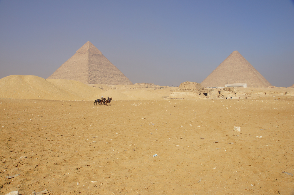 General view: Site: Giza; View: Khafre Pyramid, G 8400, Khufu Pyramid