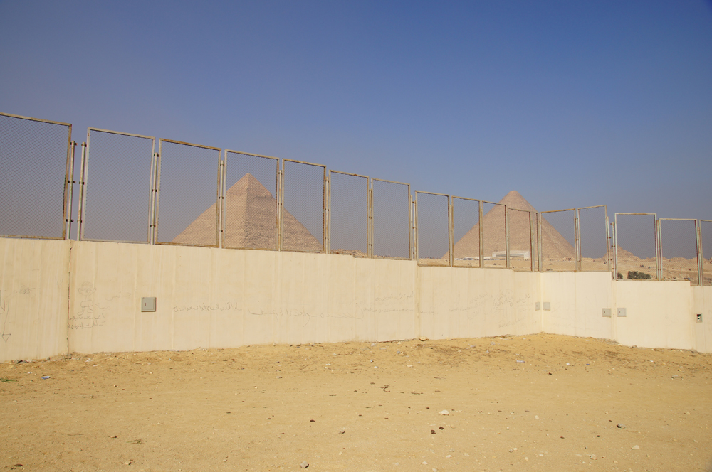 General View: Site: Giza; View: Khafre Pyramid, Khufu Pyramid, Muslim Cemetery