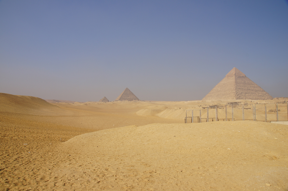 General View: Site: Giza; View: Menkaure Pyramid, Khafre Pyramid