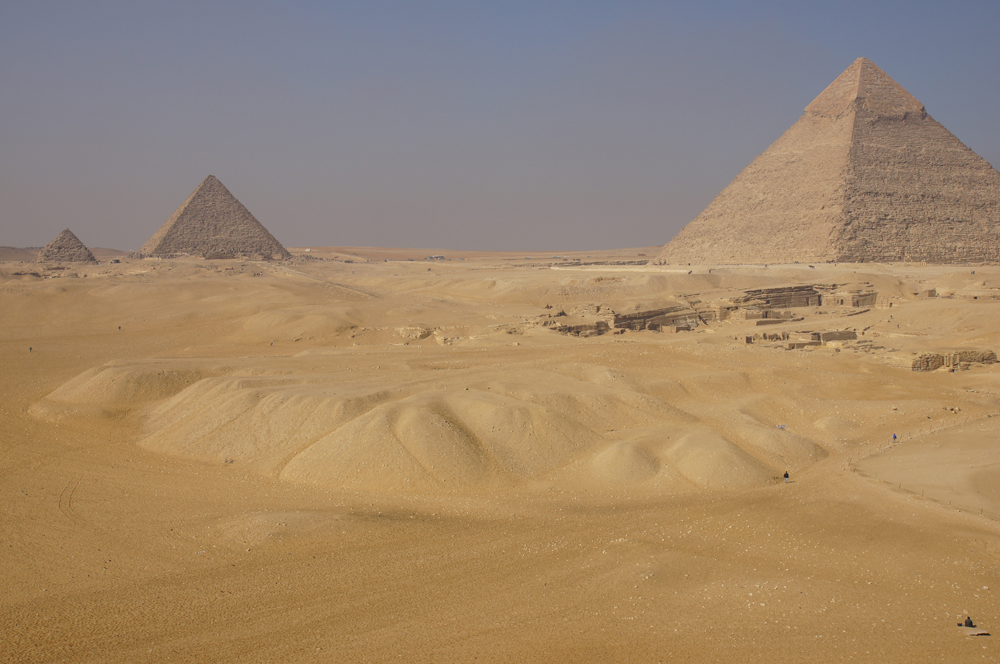 General View: Site: Giza; View: Southern Mount, Menkaure Pyramid, Khafre Pyramid, Central Field