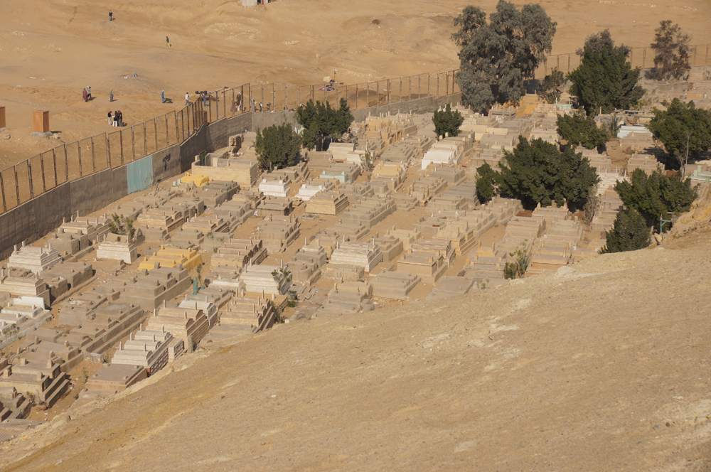 South Giza: Site: Giza; View: Menkaure Valley Temple, Muslim Cemetery