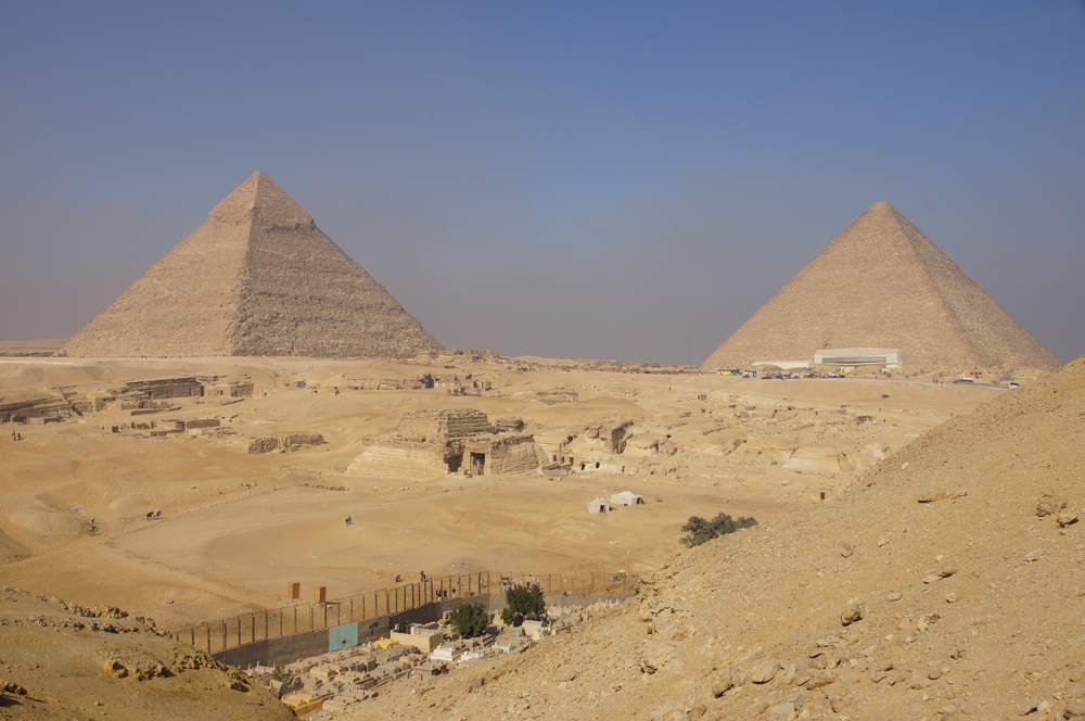 General View: Site: Giza; View: Southern Mount, Khafre Pyramid, Central Field, Khufu Pyramid, Muslim Cemetery