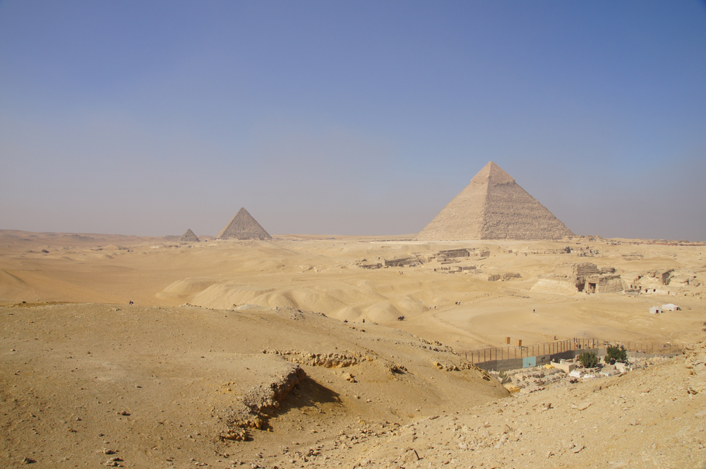General View: Site: Giza; View: Southern Mount, Khafre Pyramid, Central Field, Menkaure Pyramid, Muslim Cemetery