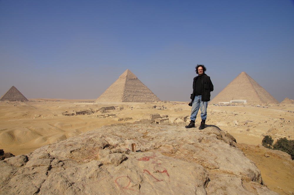 General View: Site: Giza; View: Southern Mount, Menkaure Pyramid, Khafre Pyramid, Khufu Pyramid, G 8400, Central Field