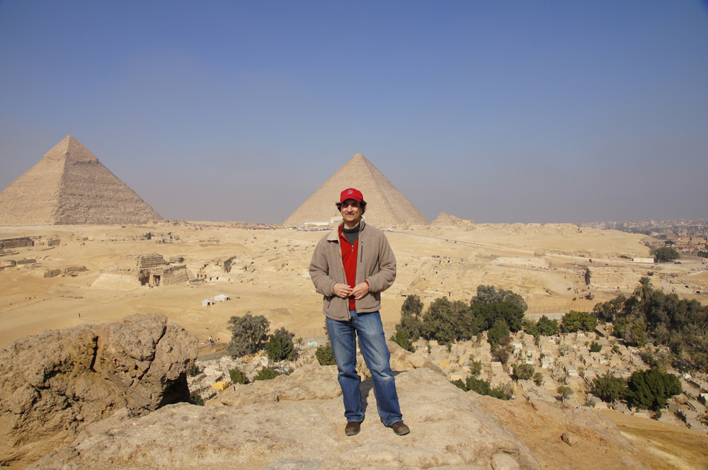 General View: Site: Giza; View: Southern Mount, Khafre Pyramid, Khufu Pyramid, G 8400, Central Field, Muslim Cemetery