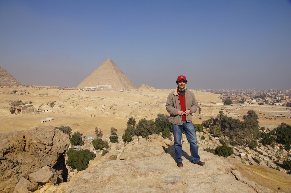 General View: Site: Giza; View: Southern Mount, Khufu Pyramid, Central Field, Muslim Cemetery