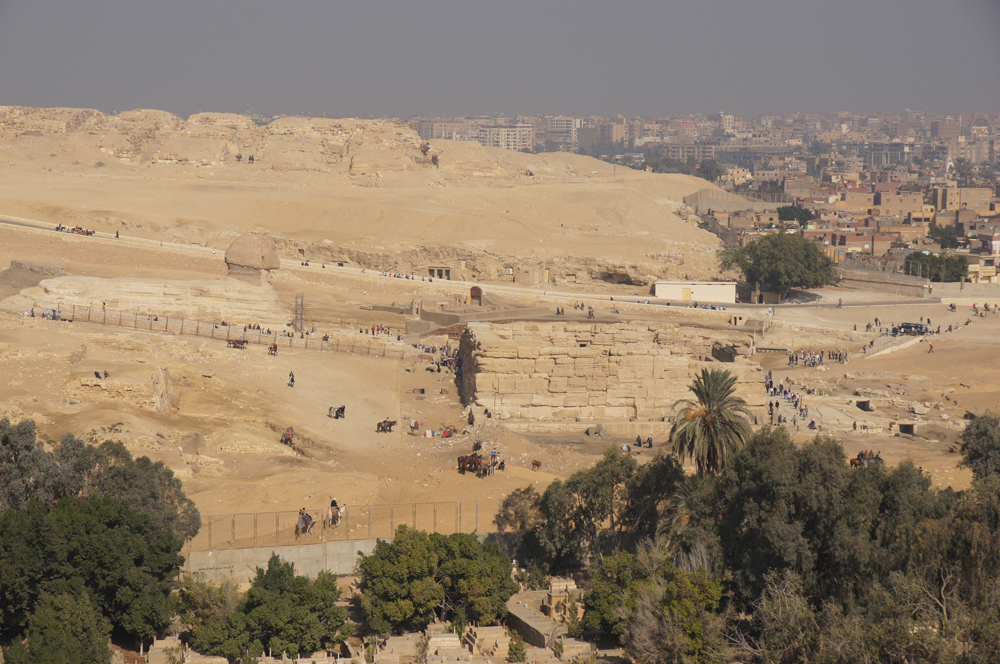 Khafre Pyramid Complex and Sphinx Complex: Site: Giza; View: Muslim Cemetery, Sphinx, Temple of Amenhetep II, Khafre Valley Temple