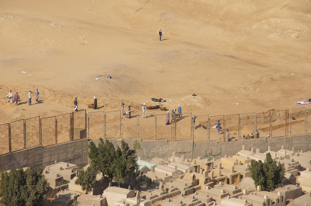 Menkaure Pyramid Complex: Site: Giza; View: Menkaure Valley Temple, Muslim Cemetery
