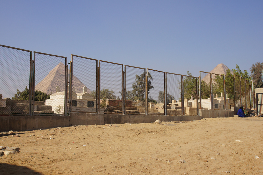 South Giza administrative area (Lehner): Site: Giza; View: South Giza, Muslim Cemetery, Khafre Pyramid, Khufu Pyramid