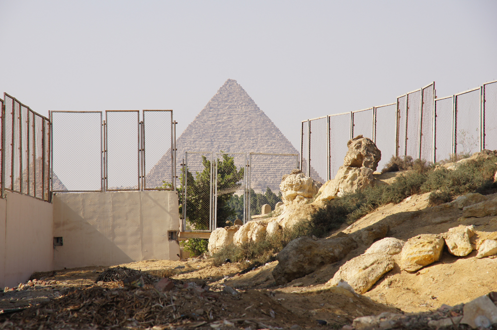 South Giza administrative area (Lehner): Site: Giza; View: South Giza, Muslim Cemetery, Menkaure Pyramid