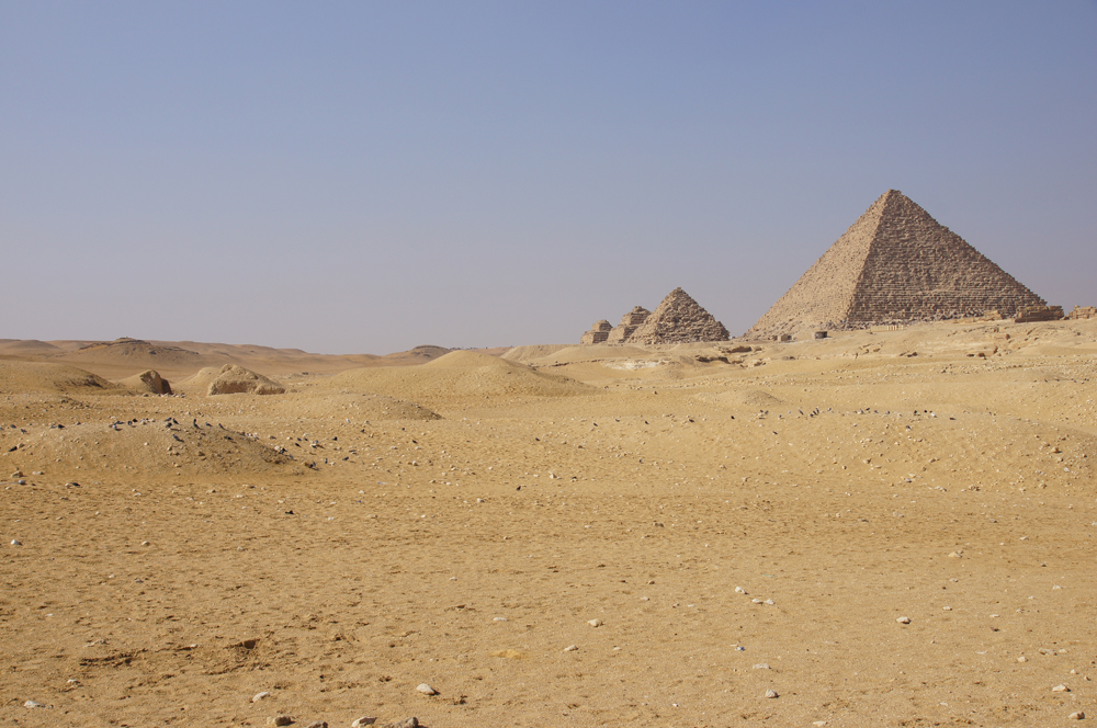 Menkaure Pyramid Complex: Site: Giza; View: Menkaure Pyramid, G III-a, G III-b, G III-c