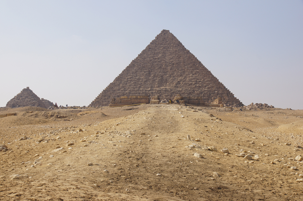 Menkaure Pyramid Complex: Site: Giza; View: Menkaure Causeway, Menkaure Pyramid Temple, Menkaure Pyramid