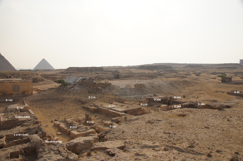 Western Cemetery: Site: Giza; View: D 105, D 107, S 2435/2443, S 2181/2260, Niankhhathor, D 213, D 212, D 201, D 214, D 211, D 210, D 208, D 209, D 204, D 207, D 82+82 A