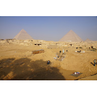 Central Field (Hassan): Site: Giza; View: Khentkaus Town, Khafre Pyramid, Khufu Pyramid