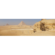 General View: Site: Giza; View: Southern Mount, Menkaure Pyramid, Khafre Pyramid