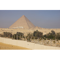 General View: Site: Giza; View: Muslim Cemetery, Central Field, Khufu Pyramid, Khufu Boat Museum, G I-c