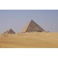 Menkaure Pyramid Complex: Site: Giza; View: Menkaure Pyramid, Menkaure Pyramid Temple, G III-a, G III-b, G III-c